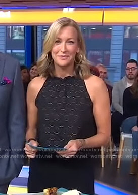 Lara's black polka dot sleeveless top on Good Morning America