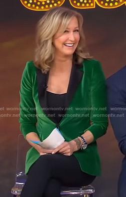 Lara's green velvet blazer on Good Morning America