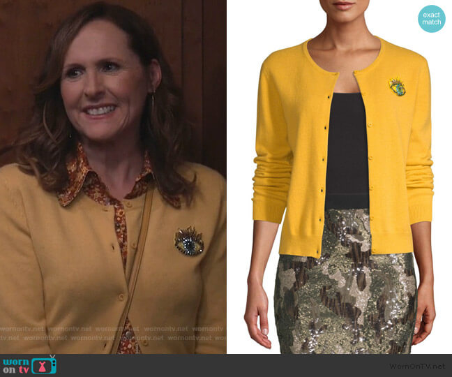 The Extra Cashmere Cardigan by Le Superbe worn by Molly Shannon on Will and Grace