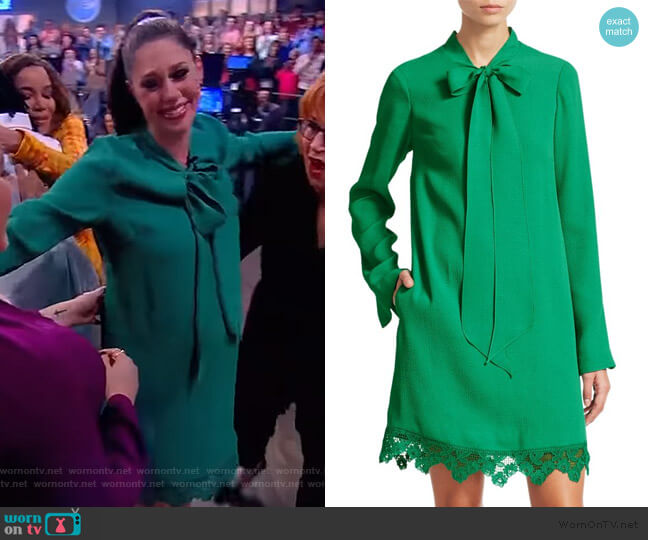 Cloque Neck Tie Lace Hem Dress by Lela Rose worn by Abby Huntsman  on The View