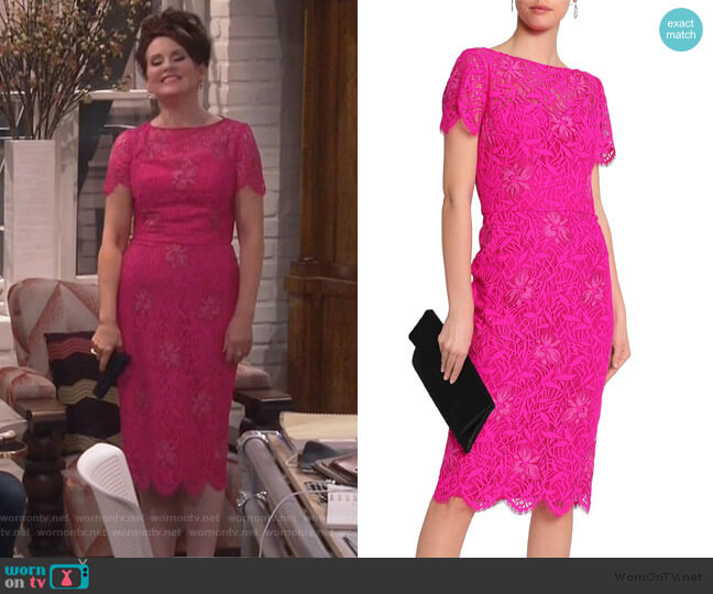 Scalloped embroidered corded lace dress by Lela Rose worn by Karen Walker (Megan Mullally) on Will & Grace