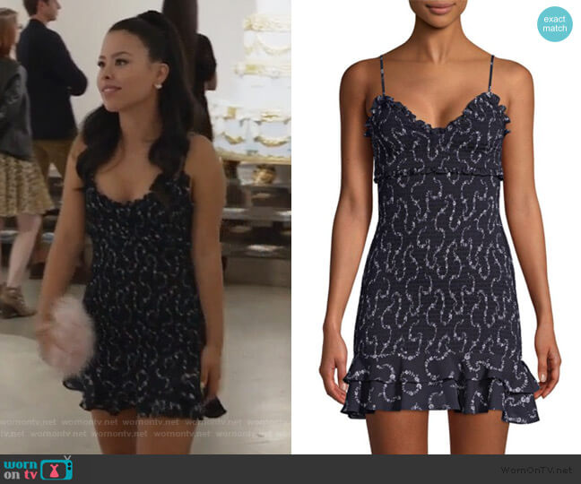 Zephra Smocked Mini Dress by Likely worn by Mariana Foster (Cierra Ramirez) on Good Trouble