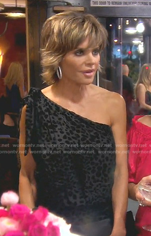 Lisa's black leopard one-shoulder dress on The Real Housewives of Beverly Hills