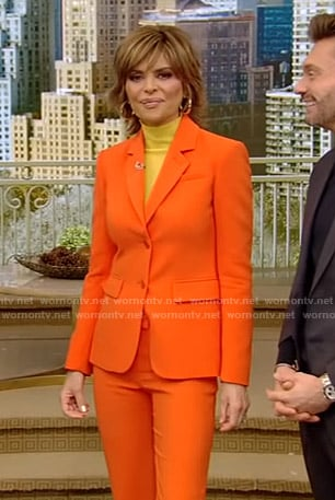 Lisa's orange suit on Live with Kelly and Ryan