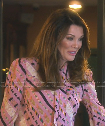 Lisa's pink printed tie neck blouse on The Real Housewives of Beverly Hills