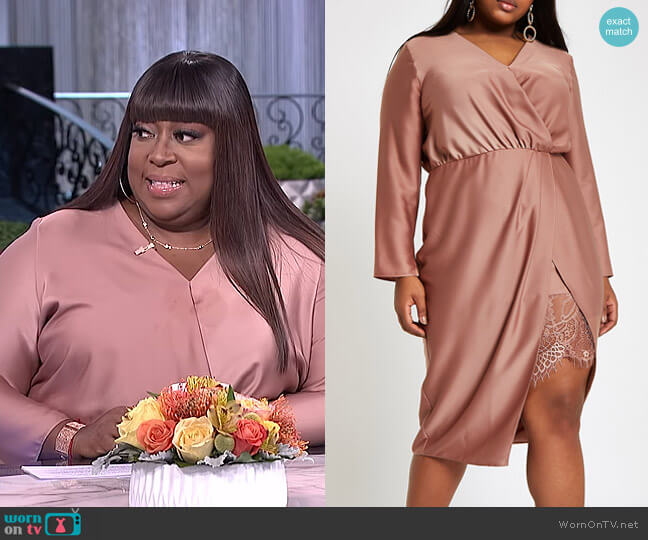 Plus Wrap Front Waisted Midi Dress by River Island worn by Loni Love  on The Real