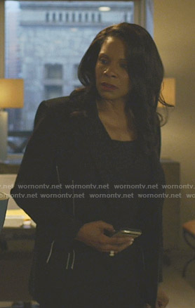 Liz's black side stitching blazer on The Good Fight