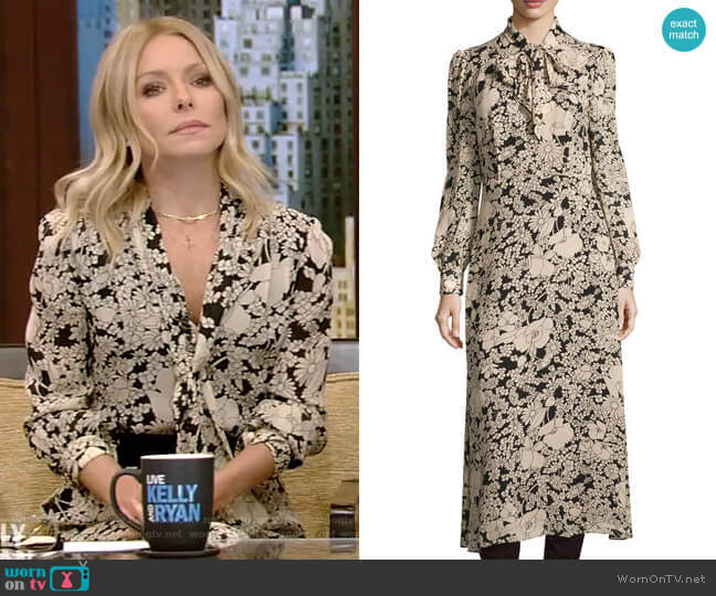 Long-Sleeve Tie-Neck Floral-Print Shirtdress by Saint Laurent worn by Kelly Ripa  on Live with Kelly & Ryan