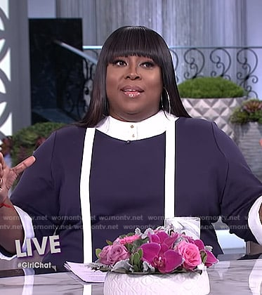 Loni's contrast tie neck dress on The Real