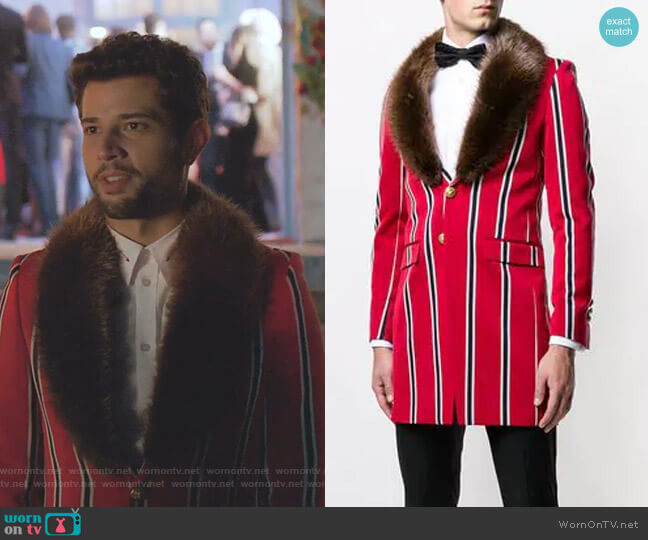 Malcom Fur-Collar Striped Jacket by Lords and Fools worn by Sam Flores (Rafael de la Fuente) on Dynasty