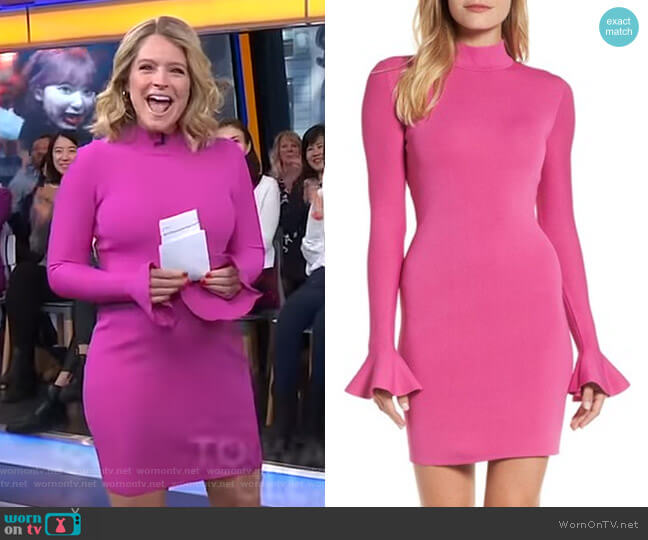 Bell Sleeve Body-Con Dress by MICHAEL Michael Kors worn by Sara Haines  on Good Morning America