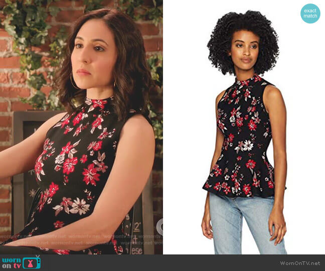 Twilight Floral Sleeveless Peplum Top by Milly worn by Valencia Perez (Gabrielle Ruiz) on Crazy Ex-Girlfriend