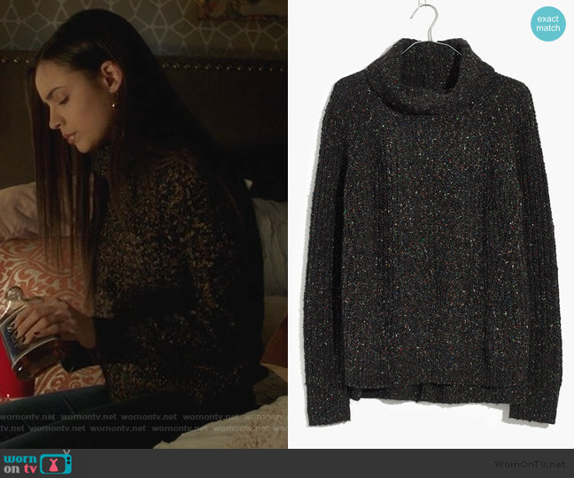 Colorfleck Ribbed Turtleneck Sweater by Madewell worn by Ava Jalali (Sofia Carson) on PLL The Perfectionists