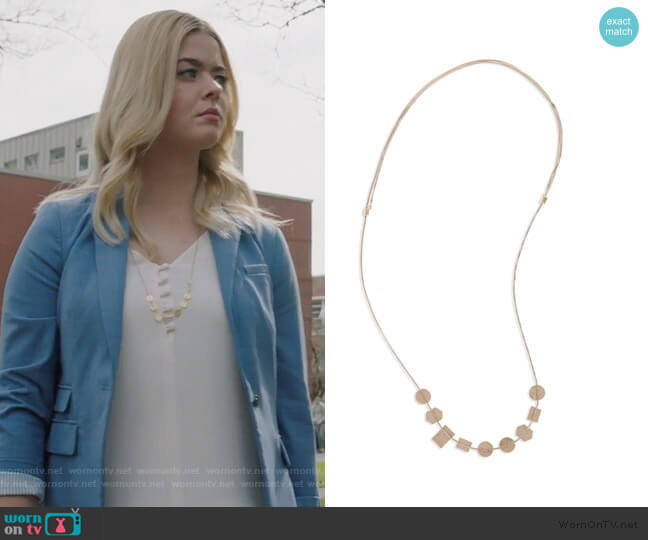 Holding Pattern Necklace by Madewell worn by Alison DiLaurentis (Sasha Pieterse) on PLL The Perfectionists