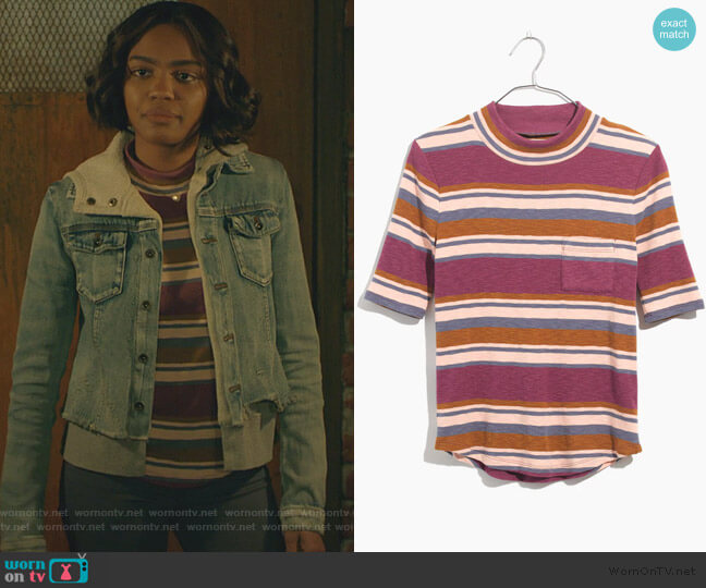 Mockneck Shirttail Tee in Stripe by Madewell worn by Jennifer Pierce (China Anne McClain) on Black Lightning