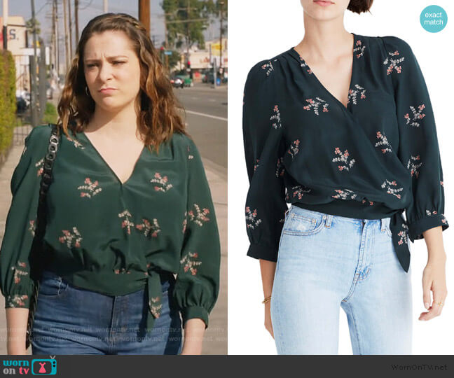 Poppy Print Silk Wrap Blouse by Madewell worn by Rebecca Bunch (Rachel Bloom) on Crazy Ex-Girlfriend
