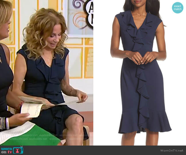 Crepe Ruffle Front Sheath Dress by Maggy London worn by Kathie Lee Gifford  on Today