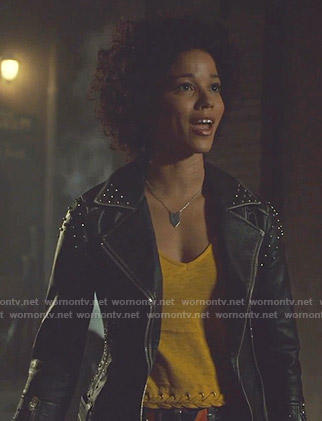 Maia's black studded moto jacket on Shadowhunters