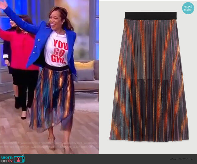 Pleated and Iridescent Long Skirt by Maje worn by Sunny Hostin  on The View