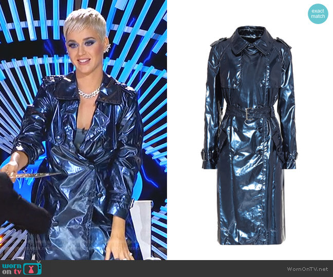 Metallic Vinyl Trench Coat by Marc Jacobs worn by Katy Perry  on American Idol