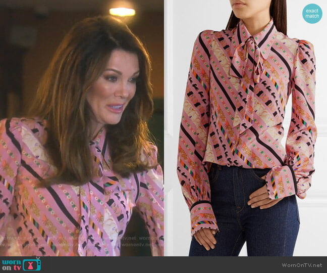Pussy-Bow Printed Silk Blouse by Marc Jacobs worn by Lisa Vanderpump  on The Real Housewives of Beverly Hills