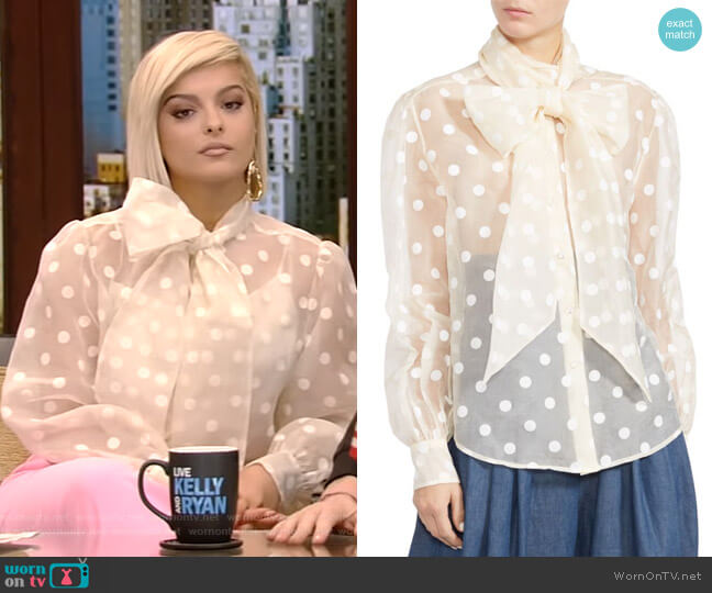 Marc Jacobs Sheer Bow-Tie Blouse worn by Bebe Rexha on Live with Kelly and Ryan