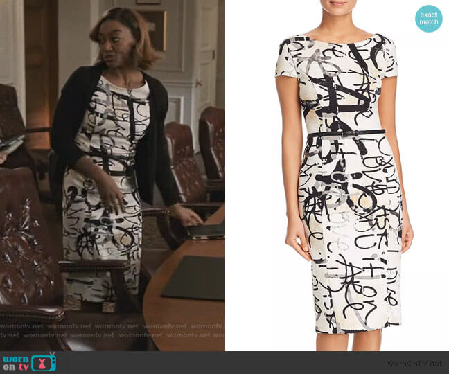 Alcali Printed Sheath Dress by Max Mara worn by Daisy Grant (Patina Miller) on Madam Secretary