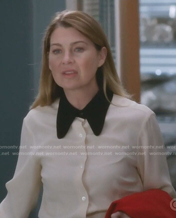 Meredith's white blouse with contrast collar on Grey's Anatomy
