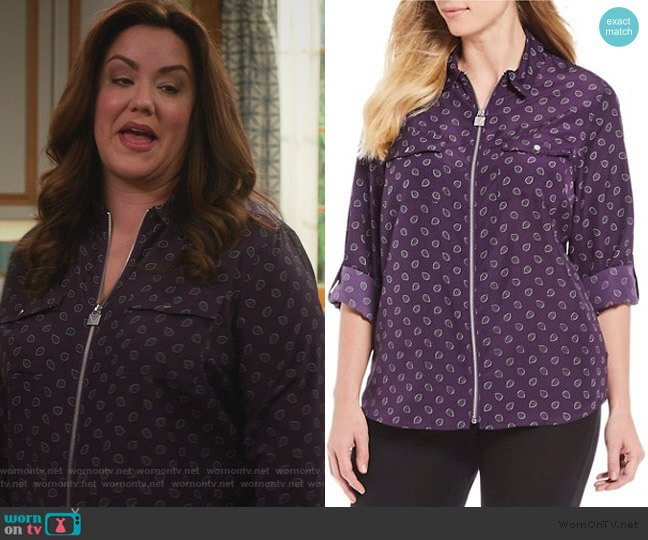 Scattered Foulard Twill Print Roll-Sleeve Lock-Tag Zip by MICHAEL Michael Kors worn by Katie Otto (Katy Mixon) on American Housewife