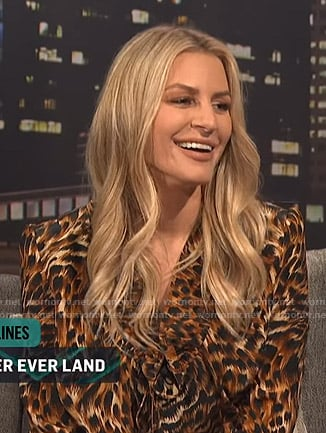 Morgan's leopard ruffled mini dress on E! News Nightly Pop