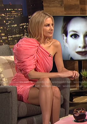 Morgan's pink one-shoulder ruched dress on E! News Nightly Pop
