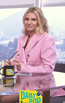 Morgan's pink windowpane checked blazer on E! News Daily Pop
