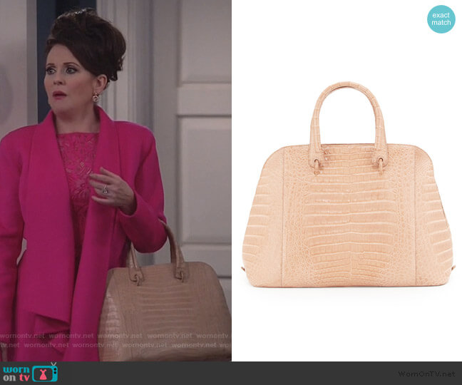 Crocodile Large Open Dome Tote Bag by Nancy Gonzalez worn by Karen Walker (Megan Mullally) on Will & Grace