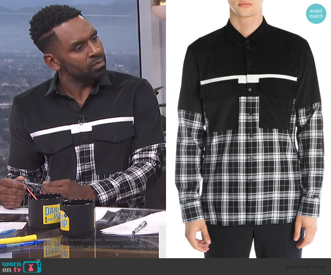 Mixed Media Shirt by Neil Barrett worn by Justin Sylvester  on E! News