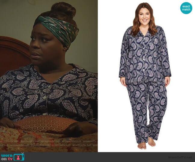Notch Collar Print Pajama Set by Ralph Lauren worn by Ruby Hill (Retta) on Good Girls