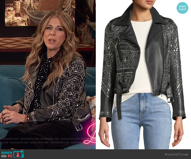 Studded Lambskin Leather Classic Moto Jacket by Nour Hammour worn by Rita Wilson on Busy Tonight