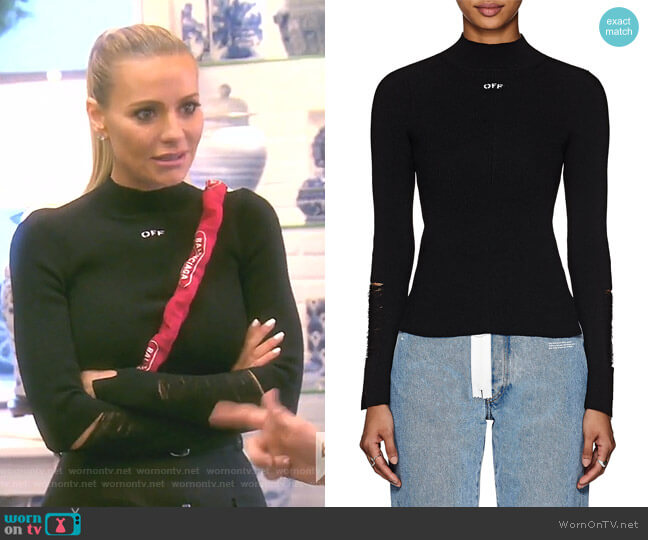 Distressed Rib-Knit Top by Off-White c/o Virgil Abloh worn by Dorit Kemsley  on The Real Housewives of Beverly Hills
