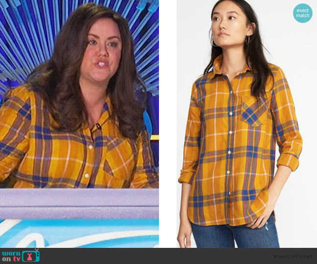 Relaxed Plaid Twill Shirt by Old Navy worn by Katie Otto (Katy Mixon) on American Housewife