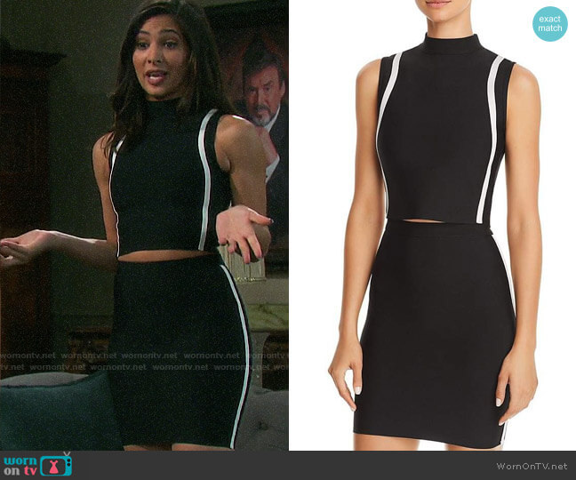 On Twelfth Contrast-Stripe Sleeveless Cropped Top and Side-stripe Dkirt worn by Gabi Hernandez (Camila Banus) on Days of our Lives