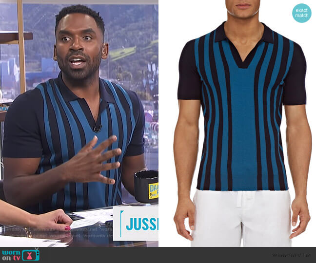 Horton Striped Polo Shirt by Orlebar Brown worn by Justin Sylvester  on E! News