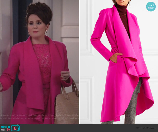 Draped brushed wool and cashmere-blend coat by Oscar De La Renta worn by Karen Walker (Megan Mullally) on Will & Grace
