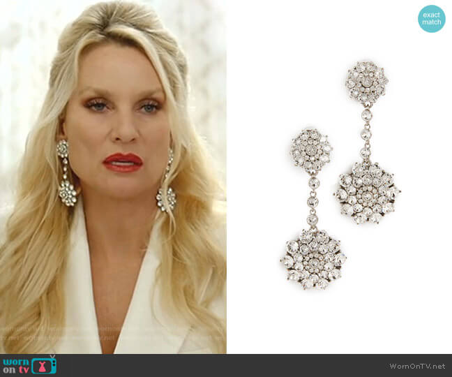 Classic Jeweled Drop Earrings by Oscar de la Renta worn by Alexis Carrington (Elaine Hendrix) on Dynasty