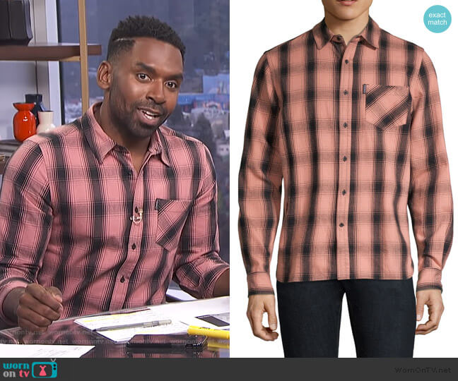 Max Plaid Cotton Shirt by Ovadia & Sons worn by Justin Sylvester  on E! News
