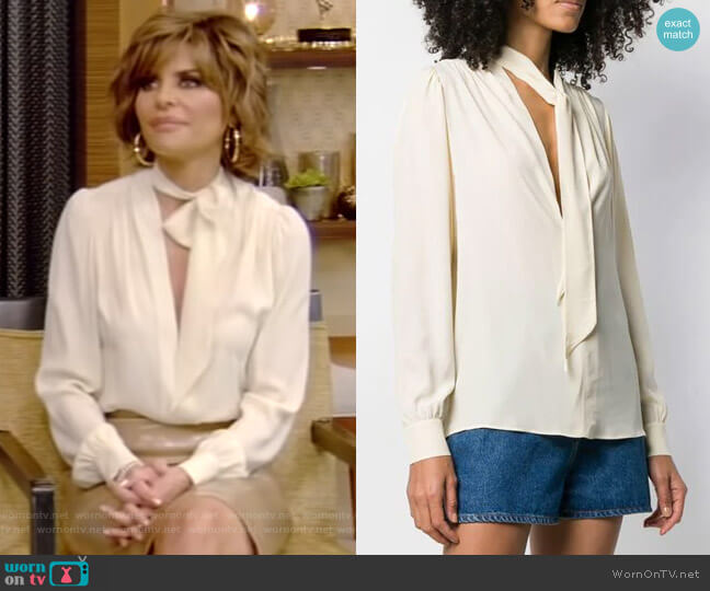 Philosophy Di Lorenzo Serafini Tie Top Blouse worn by Lisa Rinna on Live with Kelly and Ryan