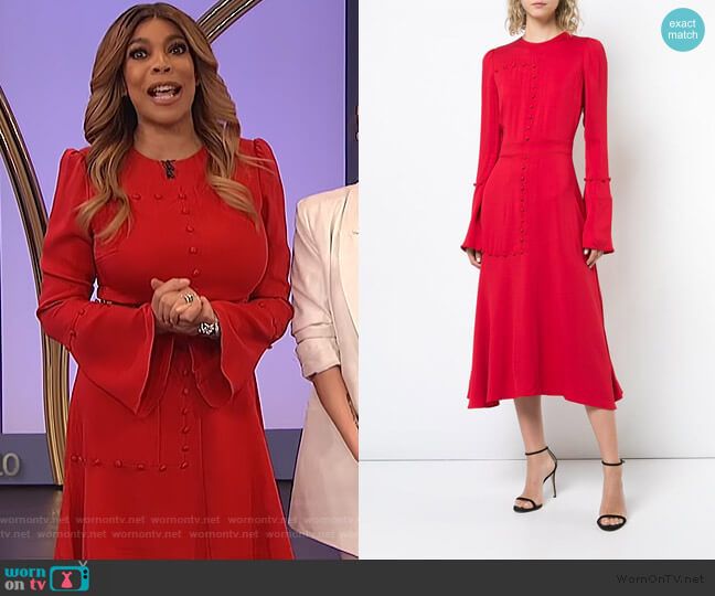 Graphic Blocking Flare dress by Prabal Gurung worn by Wendy Williams  on The Wendy Williams Show