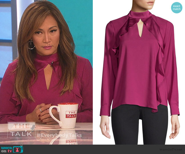Cianni Draped Ruffle Combo Top by Parker worn by Carrie Inaba  on The Talk