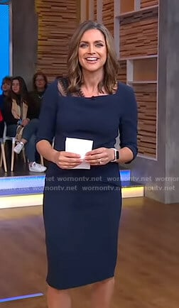 Paula's navy lace detail sheath dress on Good Morning America