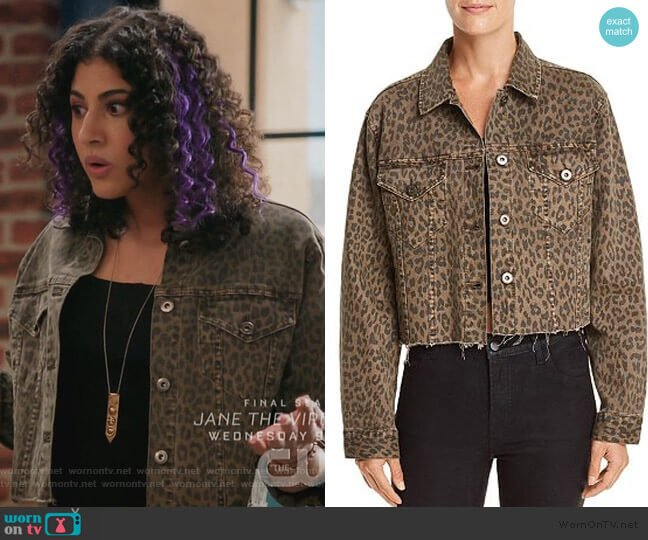 Naya Leopard Print Cropped Denim Jacket by Pistola worn by Heather Davis (Vella Lovell) on Crazy Ex-Girlfriend