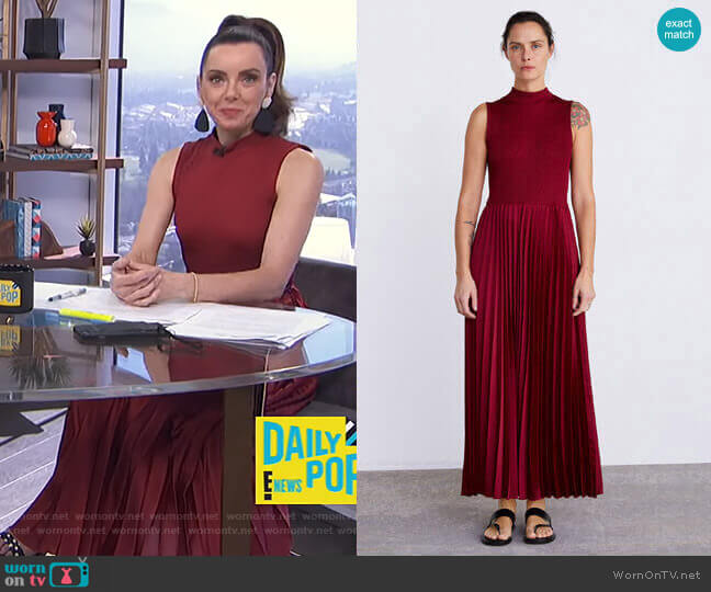 Pleated Dress by Zara worn by Melanie Bromley  on E! News