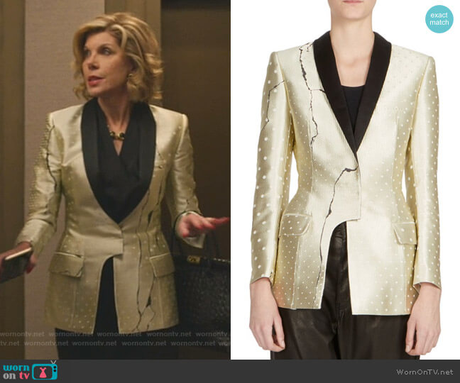 Asymmetric Metallic Jacket by Haider Ackermann worn by Diane Lockhart (Christine Baranski) on The Good Fight